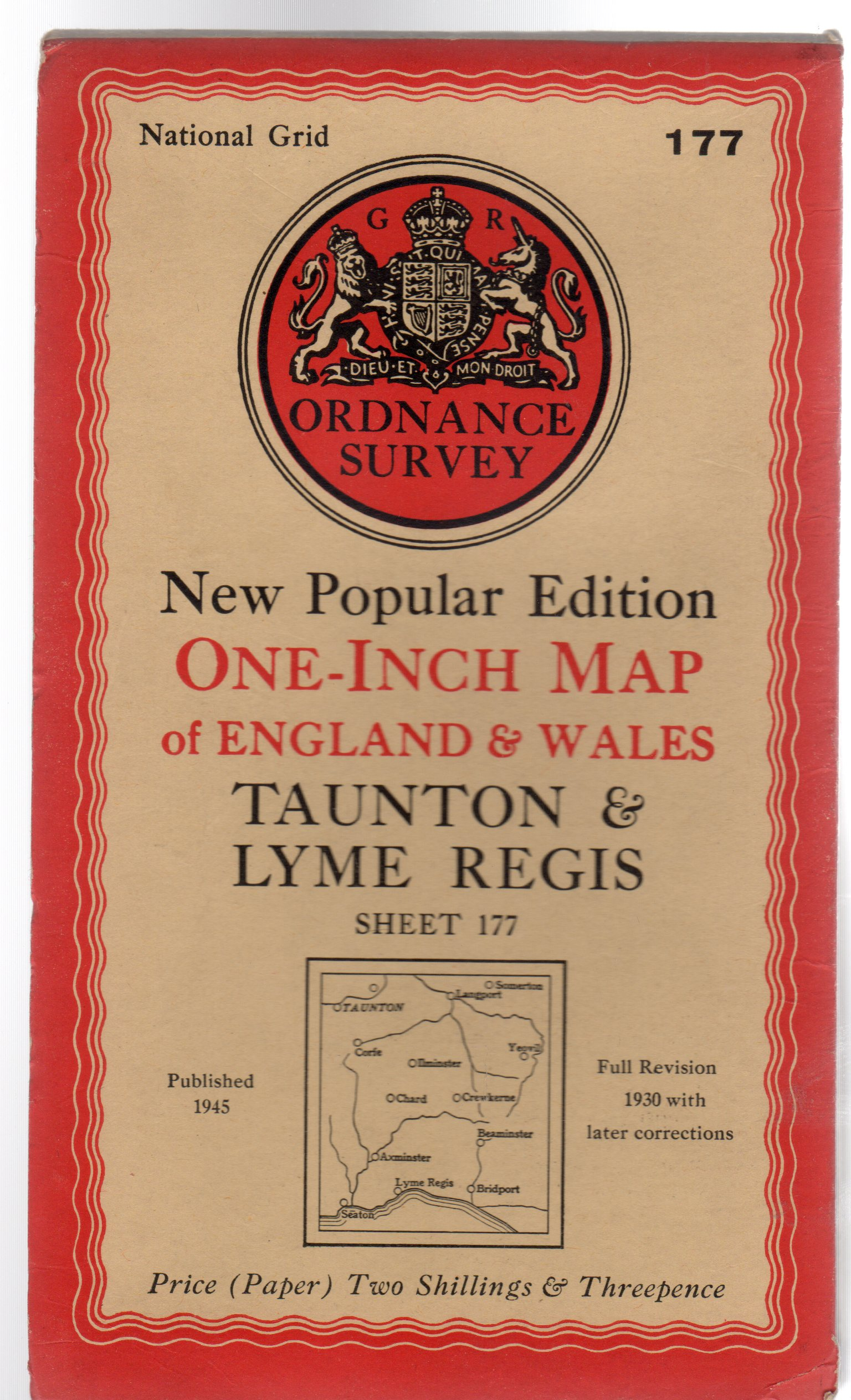 Image for Ordnance Survey  New Popular Edition One-Inch Map of England & Wales Sheet 177 Taunton & Lyme Regis