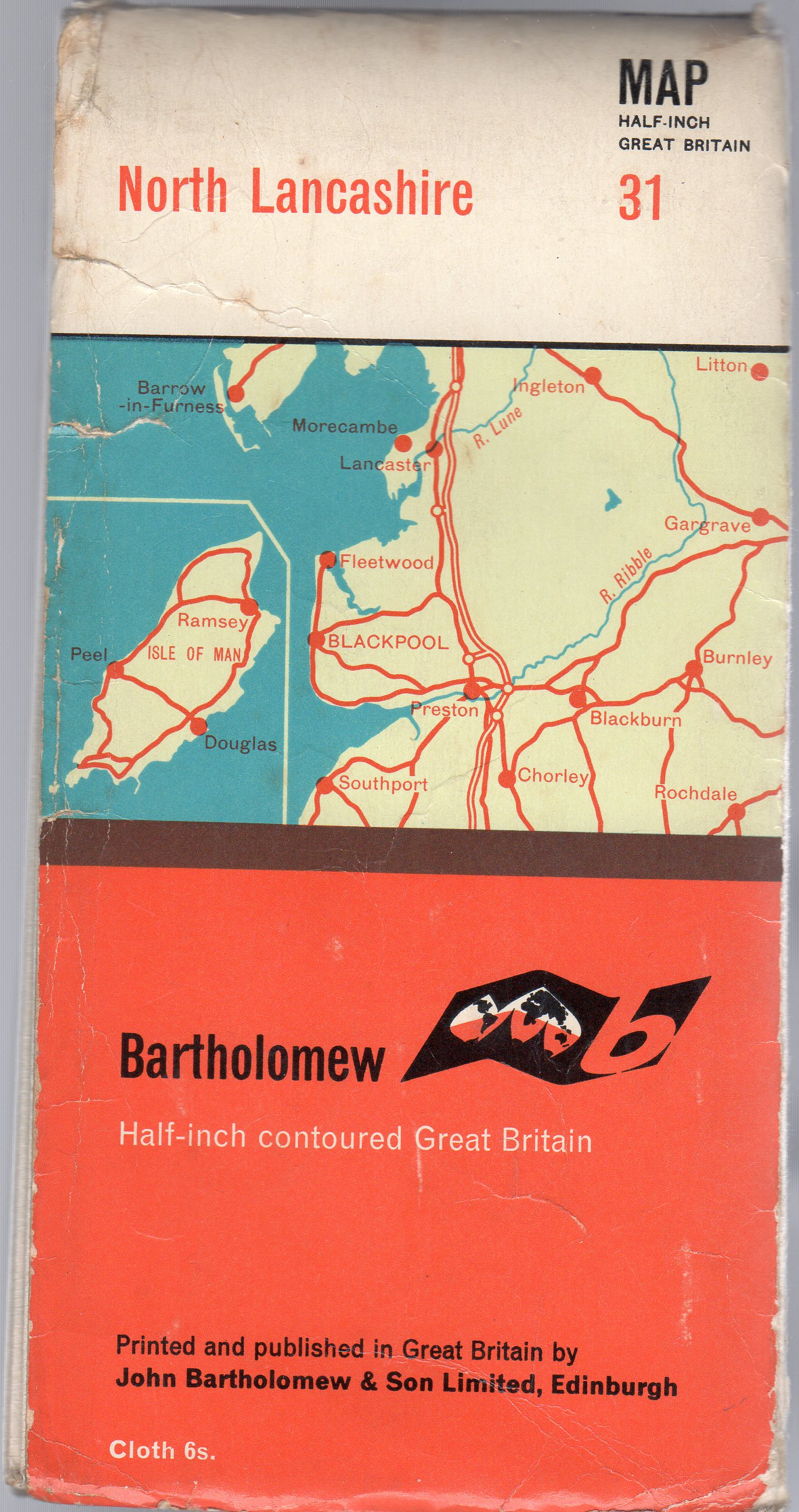 Image for Bartholomew Half-Inch Contoured Map of Great Britan Sheet 31 North Lancashire