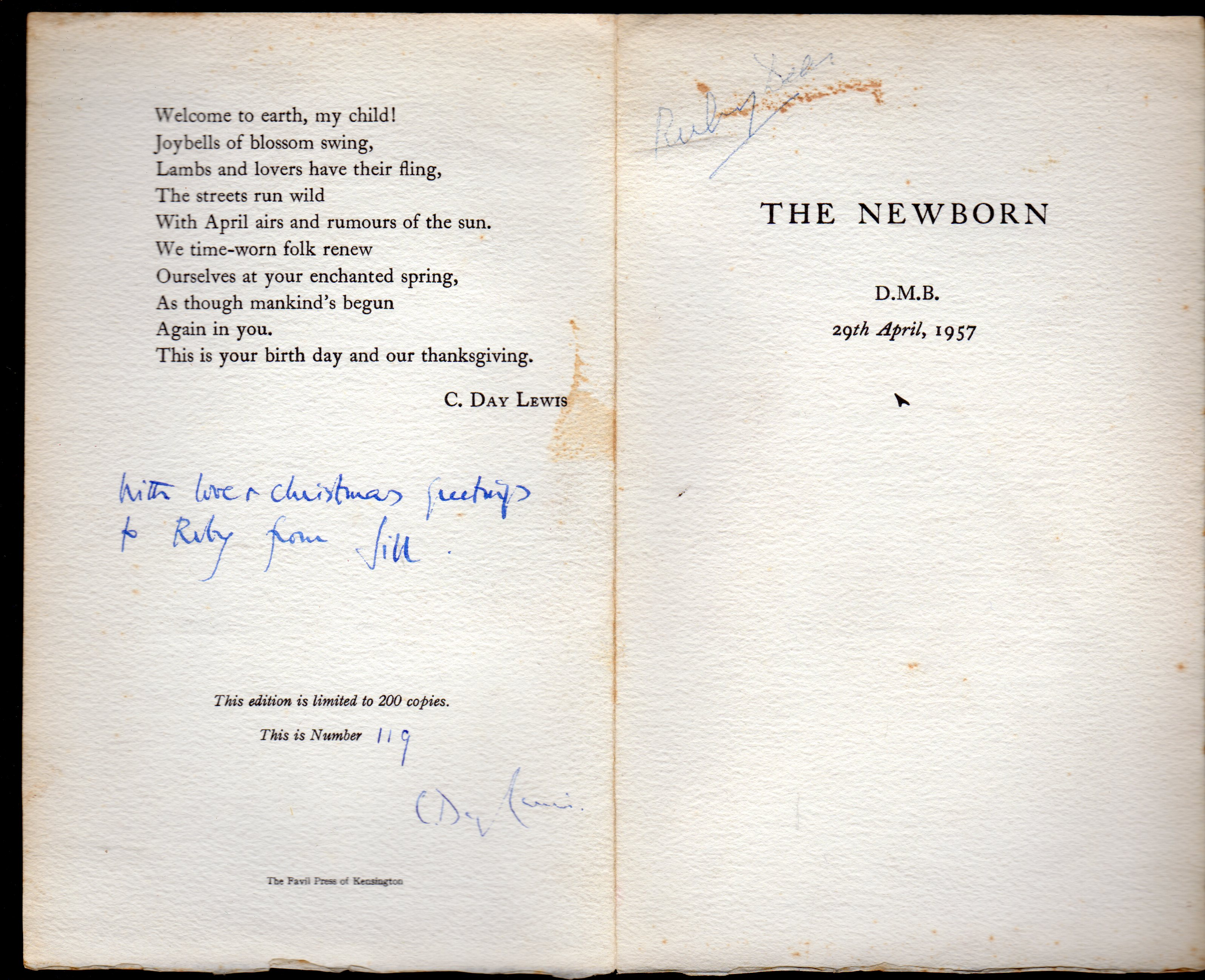 Image for The Newborn [SIGNED PAMPHLET]